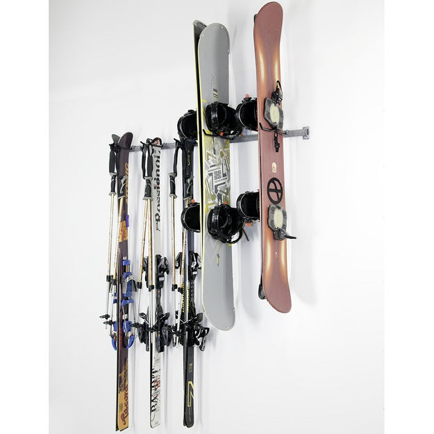 This ski and snowboard rack will file away your family's snow bunny goods.