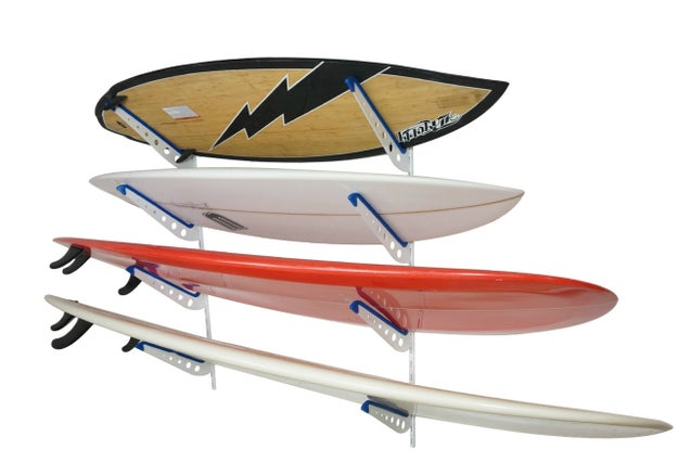 This adjustable surfboard wall rack will keep your beauts wave-ready.