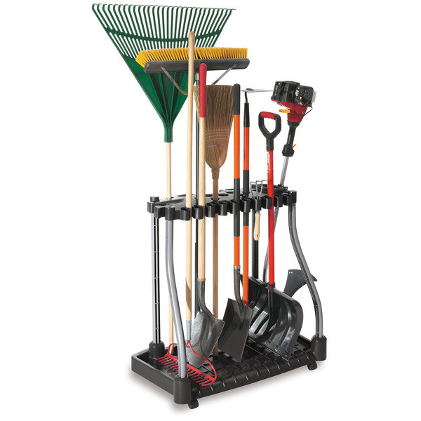 This rolling tool tower will take care of your long-handled tools that track in dirt.