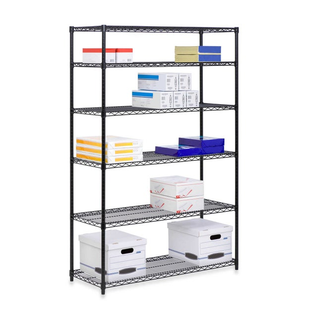 This open-shelving unit can carry the weight of packed containers and bulky items.