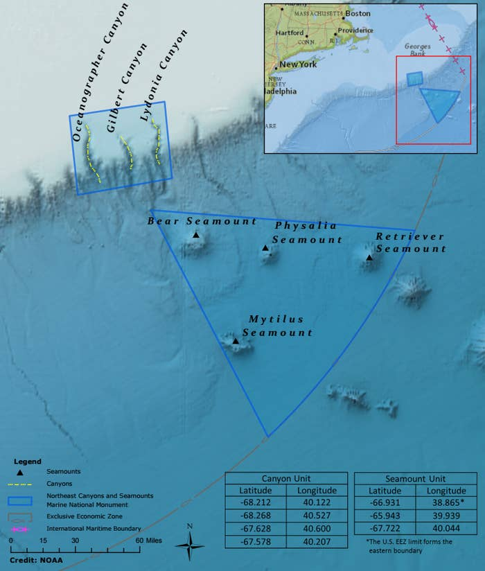A map released Thursday shows the new Northeast Canyons and Seamounts Marine National Monument.