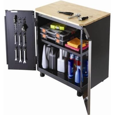 This base garage storage cabinet has a wood worktop and handy storage inside.