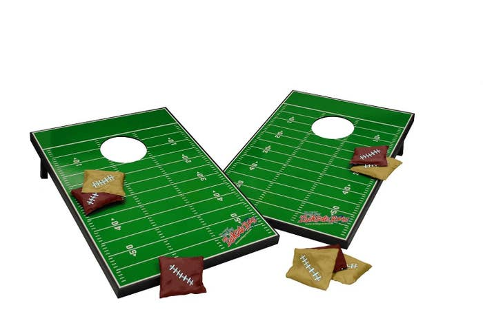 Show your team pride with not only a customized cornhole board but customized bean bags as well from Wild Sports.