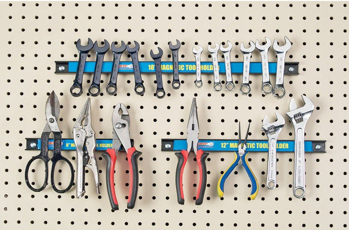 This set of powerful magnetic tool holders will fit on a pegboard or the wall.