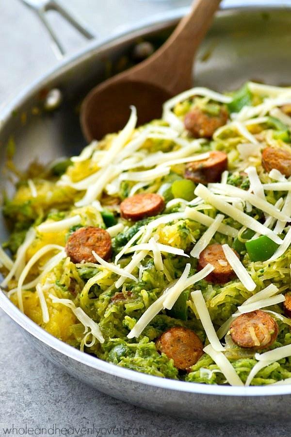 Pesto Spaghetti Squash Sausage Skillet