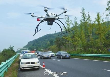 The drone is said to be able to fly 13 feet above the ground and send data back to the police headquarters. Police from other regions of the country are also announcing the new use of traffic drones on social media.