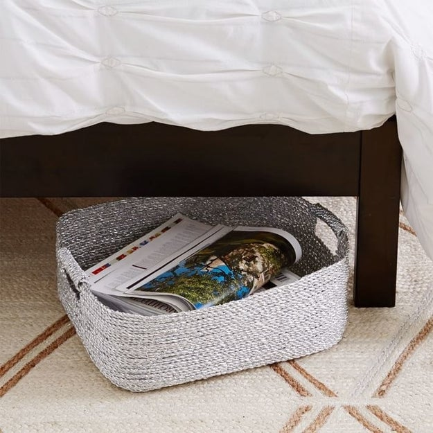 This pretty, metallic basket can hold everyday stuff for reaching peak relaxation like lounging slippers and a blanket.