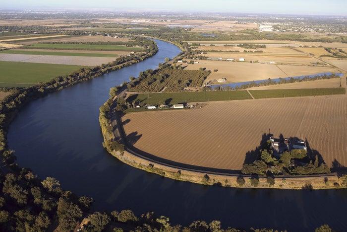 An aerial view shows the Sacramento San Joaquin River Delta near Isleton, California, Sep. 3, 2013.