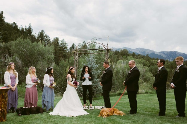 O'Connell and Garvin were married on Sept. 1, with Charlie Bear, and one of their other five dogs, by their sides.