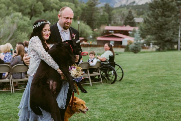Charlie was too tired to walk back, so Katie Lloyd, the maid of honor and O'Connell's sister, scooped up the 80-pound dog and carried him back in her arms.