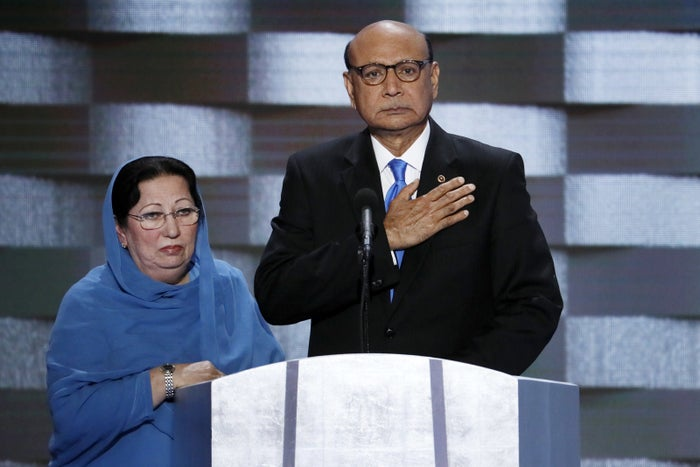 Khizr Khan, father of fallen US Army Capt. Humayun S. M. Khan and his wife Ghazala at the 2016 Democratic National Convention.