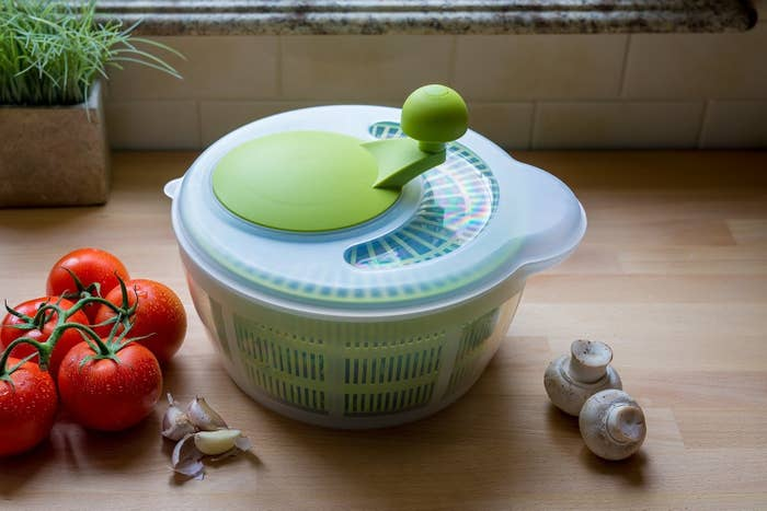 Examples of other uses: remove excess moisture from grated potatoes or other vegetables (like broccoli florets and leeks), defrost frozen shrimp, and drain/dry pasta. (And not food-related, but it's also an awesome way to wash your bras.)Get it from Amazon for $16.99.