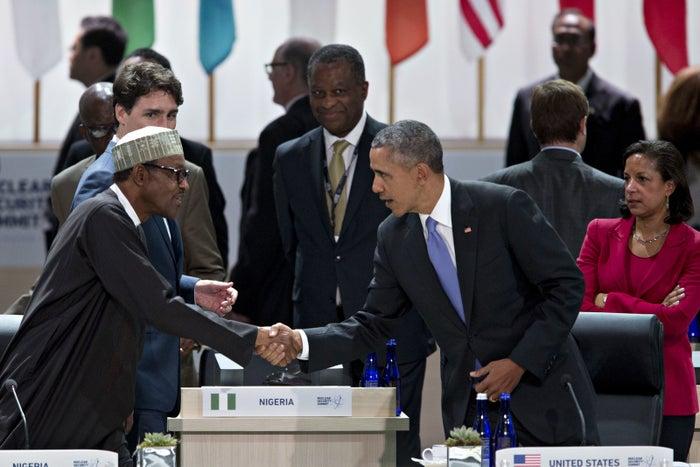 Muhammadu Buhari and Barack Obama in April.