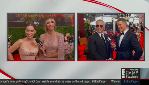 This moment between Emilia Clarke and Matt LeBlanc on the Emmys red carpet began innocently enough: They traded inanities about who was the bigger fan of whom.