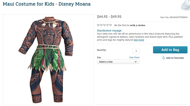 """People are accusing Disney of cultural appropriation for selling a brown-skin tattoo costume of Maui, a Polynesian demigod who is voiced by Dwayne """"The Rock"""" Johnson in the upcoming film Moana."""