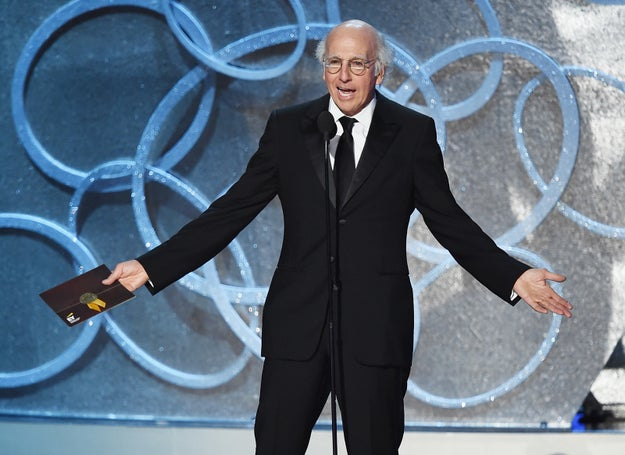 """Larry David was nominated for hosting an episode of Saturday Night Live during which he memorably played Democratic primary candidate Bernie Sanders. """"They both lost,"""" Kimmel quipped."""