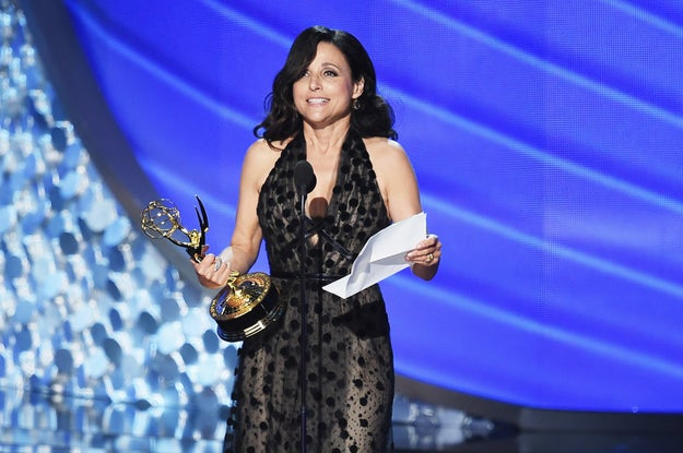 """Best lead comedy actress winner Julia Louis-Dreyfus used her acceptance speech as an """"opportunity to personally apologize for the current political climate."""""""