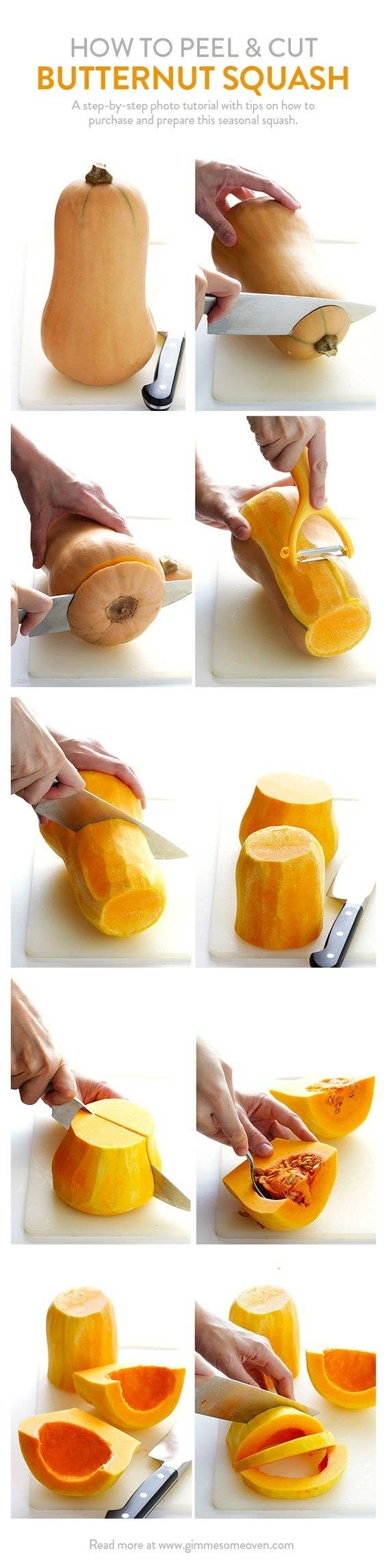 Cut Butternut Squash Into Small Boats Before Slicing Them Into Crescent  Moons