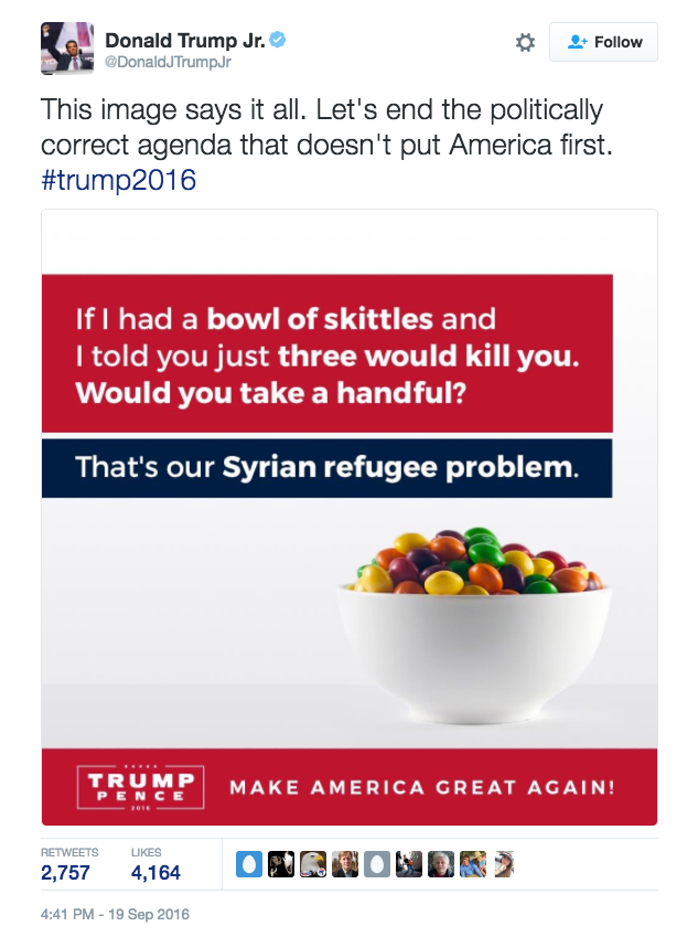 """""""If I had a bowl of skittles and I told you just three would kill you. Would you take a handful?"""" the meme reads. """"That's our Syrian refugee problem.""""The message was a play on a rhetorical device that sometimes uses poisonous M&M's. It's also been applied to groups of people, most recently Syrian refugees. If a few people in the group are bad, it'd be foolish to trust anyone in that group, some argue.In particular, the meme posted by Trump took language from a tweet by conservative radio host Joe Walsh last month."""