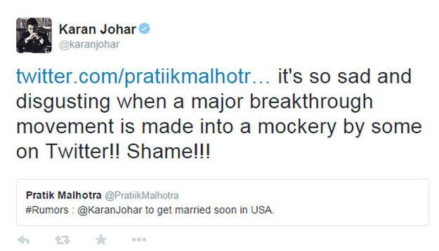 When Karan Johar shut down a homophobic troll after he made a quip about same-sex marriage being legal in the U.S.
