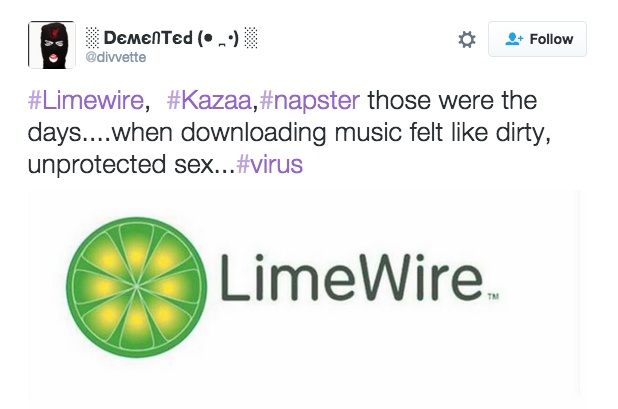 a tweet that says how limewire was the original std because it would infect your computer