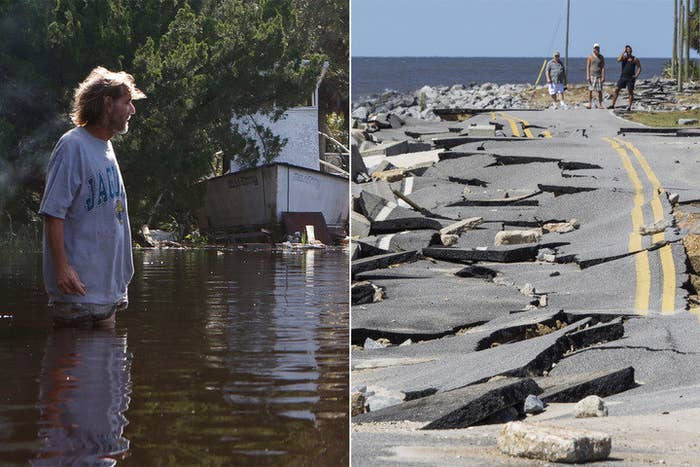 A man, left, surveys flooding and storm damage in St. Marks, Florida, and residents, right, look at a broken road in Alligator Point, Florida, Monday.