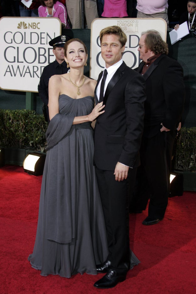 2007: Angelina was really feeling her gray 'n' gold outfit here.