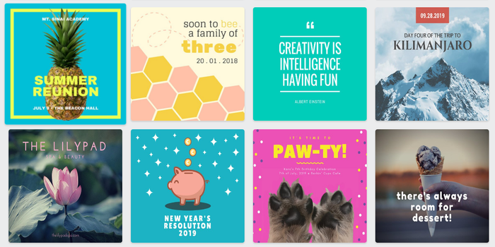 Examples of Canva's social graphics templates.