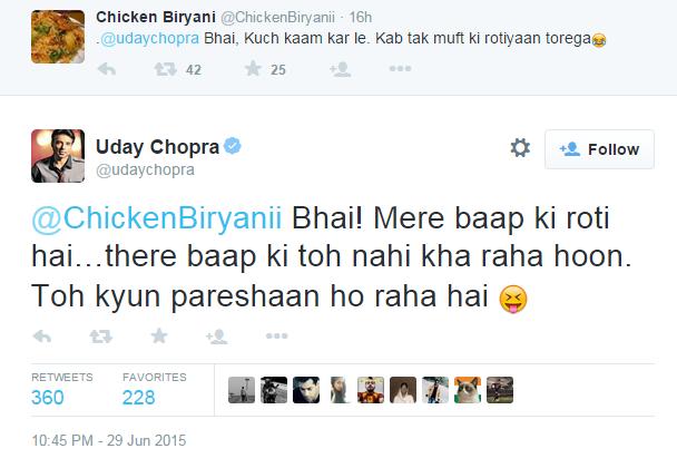 When Uday Chopra didn't sit the fuck down.