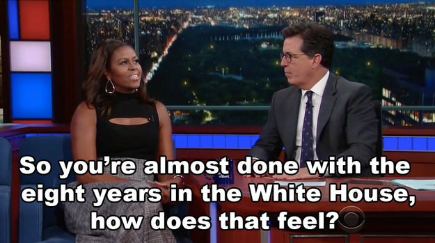 Colbert opened up the interview by asking Mrs. Obama about her time in the White House coming to an end.