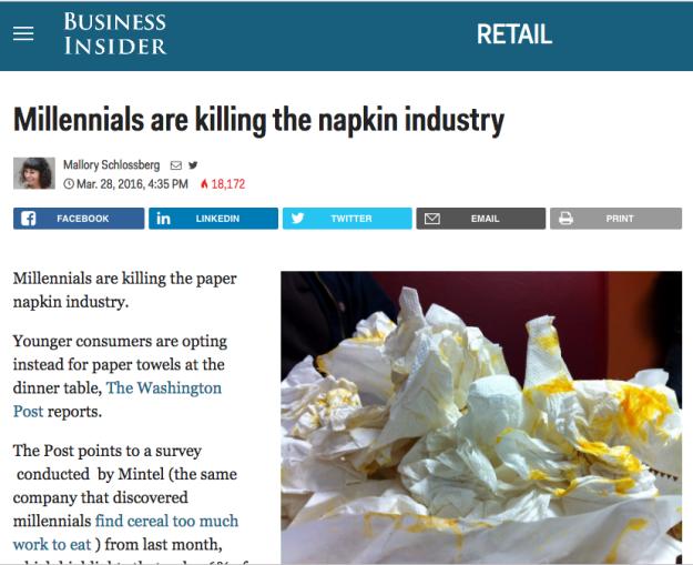 """""""Millennials estão matando a indústria de guardanapos."""""""