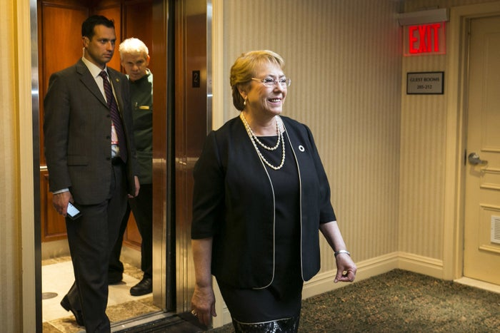 President of Chile Michelle Bachelet exits the elevator at her hotel in New York, Sep 22, 2016.