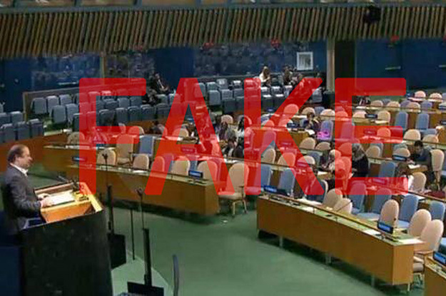 This Photo Of Pakistan's PM Speaking To An Empty Room At The UN Is Fake