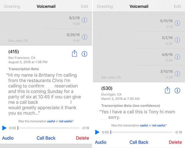 En el correo de voz, toca el número de teléfono para ver una transcripción del mensaje.