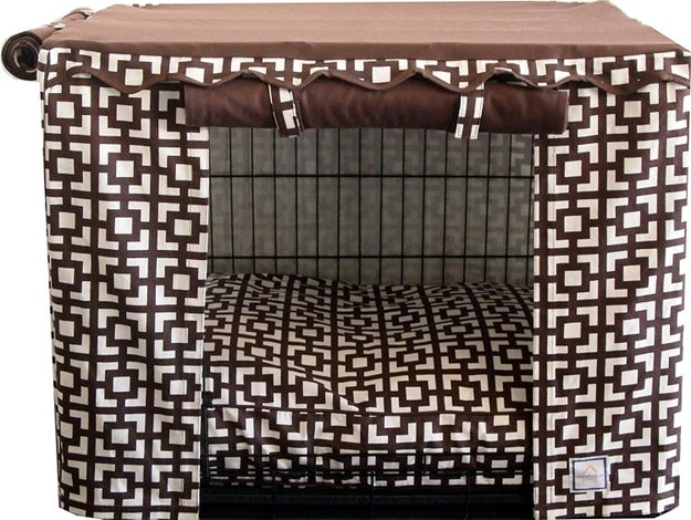 Turn your dog's crate into a design accent with a regal cover worthy of Henry VIII.