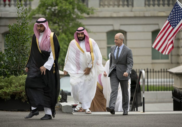 Saudi Arabia's Deputy Crown Prince Mohammed bin Salman, center