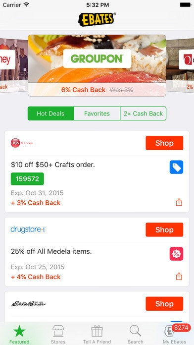 Ebates is a service that allows you to earn cash back on what you buy online. You simply have to use their site to shop through the thousands of Ebates partner stores, and you'll receive money back for your purchases.