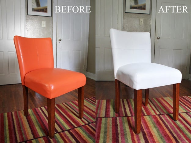 Transform a throwaway vinyl chair with the help of specialty spray paint.