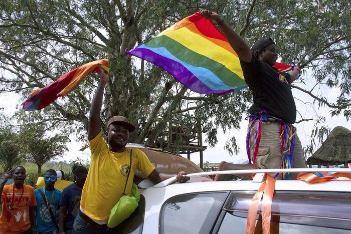 LGBT Ugandans demonstrating in 2014.