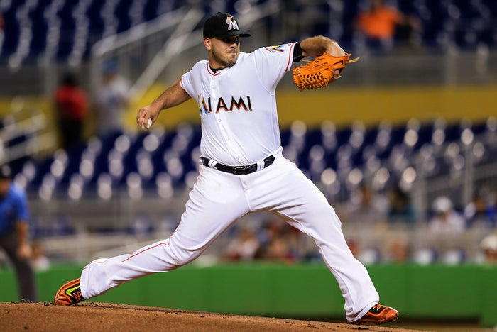 Fernandez pitching at Marlins Stadium on Tuesday.