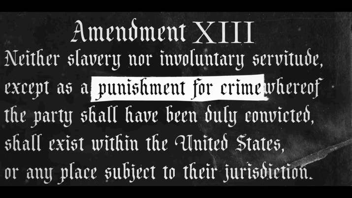 The documentary explores the impact of the exception of criminals in the 13th Amendment to abolish slavery.