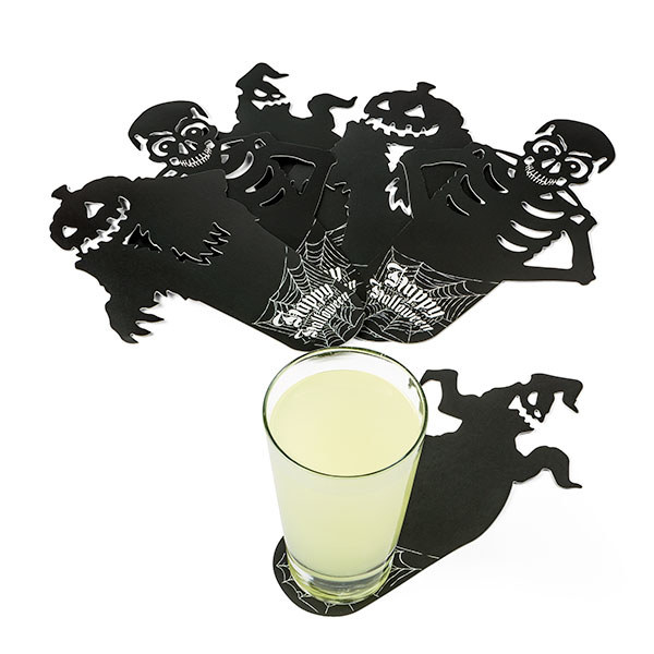 Scatter some villainous coasters around so guests can be shadowed and watched over around for their entire stay.