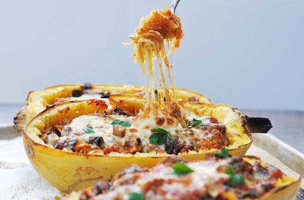 Mushroom and Kale Spaghetti Squash Bowls