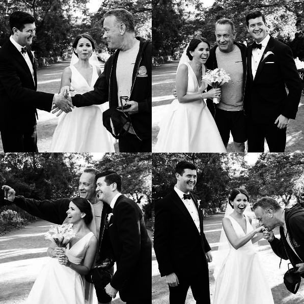 Lucky newlyweds Elizabeth and Ryan, who chose not to disclose their last names, were taking wedding photos in Central Park on Sept. 24 when Forrest Gump himself strolled over and made the best day of their lives even better.
