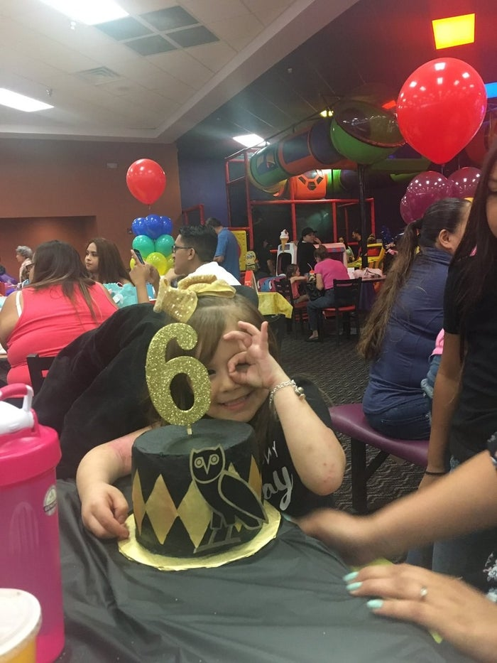 """Marquez, who first laughed at the idea when her best friend told her, was totally impressed when she walked into the birthday party. """"When I arrived, the decorations were better than I expected,"""" she said. She added there were even mini Hennessy bottles holding down the balloons."""