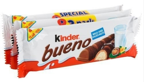 Kinder Bueno Milk Chocolates, which have a crispy cookie shell and a Nutella-like cream filling.