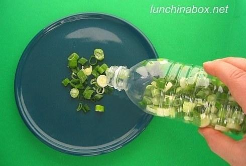 Freeze green onions in a plastic bottle.