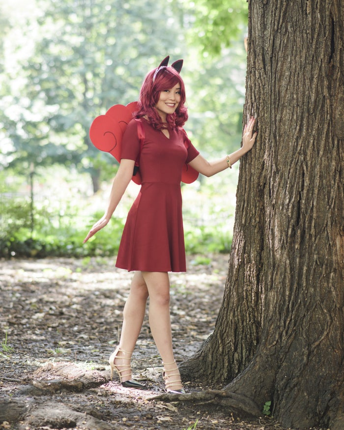 You'll be making the ears and the tail! Thanks to Arda Wigs for providing the Vivien Wig in Maroon.