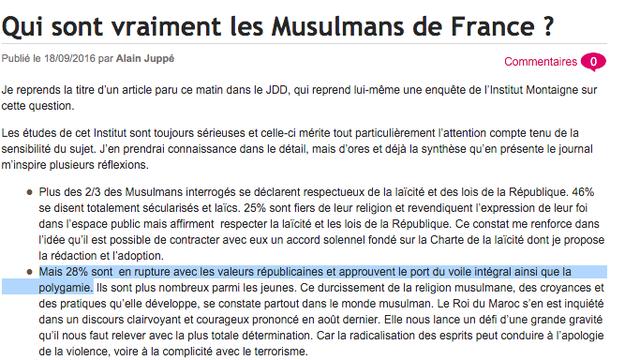 Dans son blog, Alain Juppé avance le même chiffre erroné de 28% de musulmans qui «approuvent la polygamie». Jean-François Copé affirme aussi que «28% des musulmans rejettent en bloc nos valeurs en défendant notamment le port du voile intégral et la polygamie».