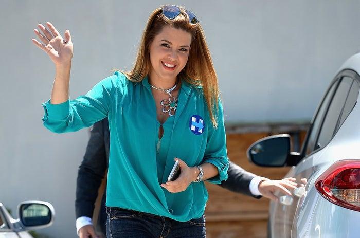 Machado campaigning for Clinton in Miami last month.